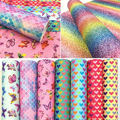 huyiko 8 Farben Glitter Rainbow Kunstleder Bettlaken Gleit PU für DIY Ohrringe Makin, A5.