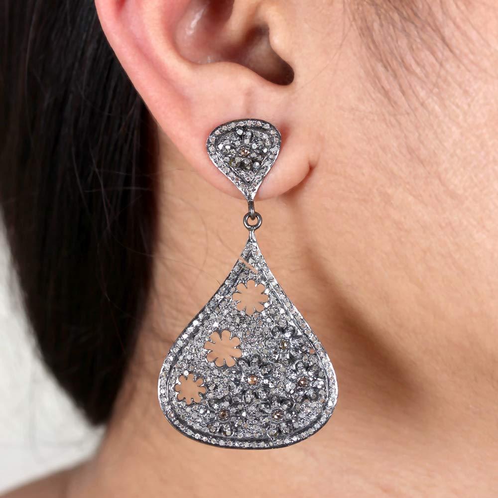 Natural Under blast sales 2.19 Ct. Pave Diamond Floral 2021 Drop Dangle Earrin Designer
