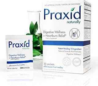 Praxid - 4 in 1 Multi Supplement of Digestion. Provides: Natural Heartburn Relief, Enzyme Support, GI Protection and Probiotic Balance (30 Packets)