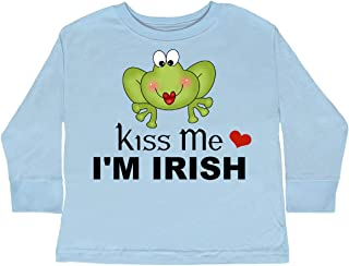 Kiss Me I'm Irish with Cute Frog Toddler Long Sleeve T-Shirt