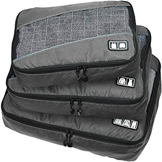 Waterproof Travel Storage Bags Luggage Organizer Pouch Packing Cube Clothing Sorting Packages Pack of 3Pcs Gray