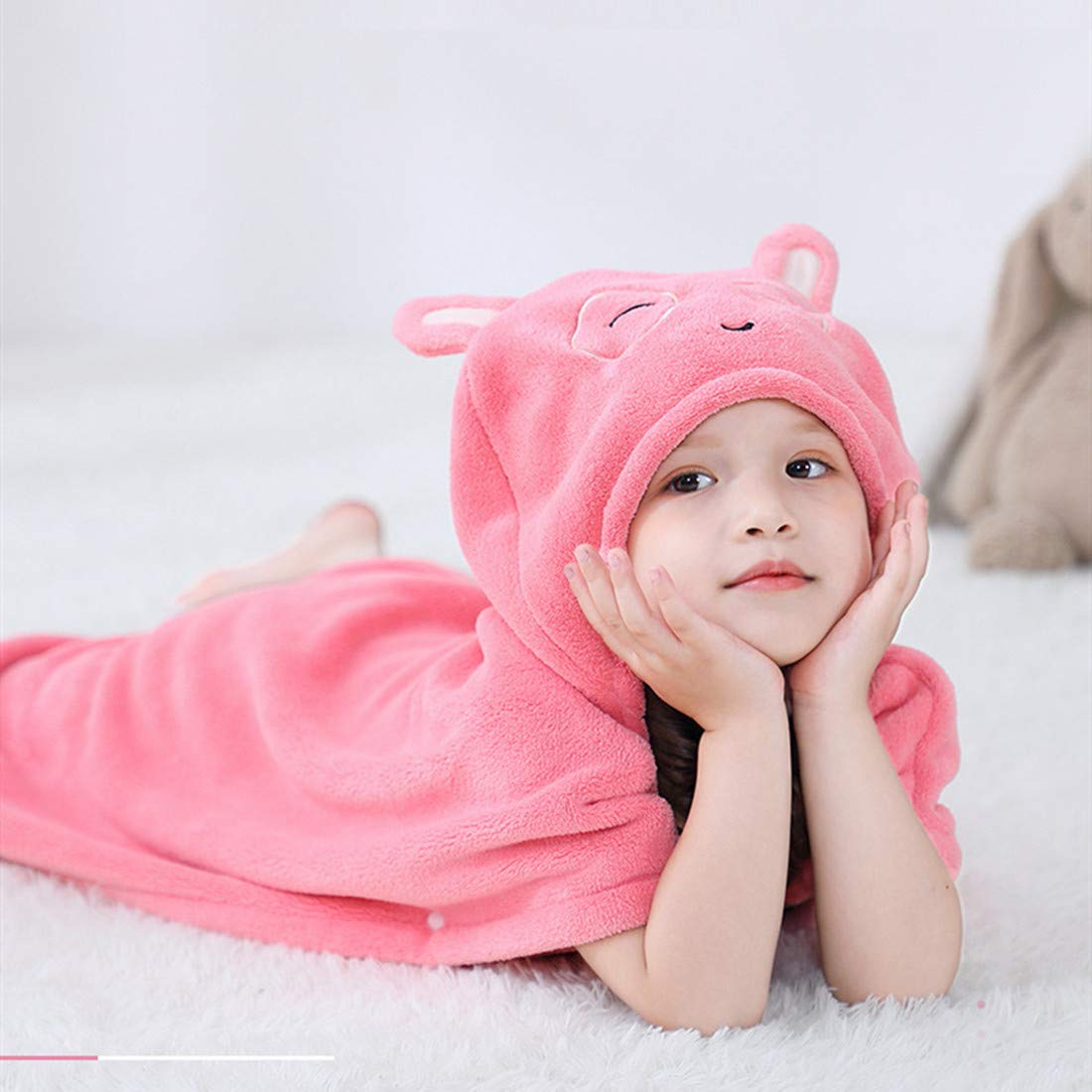 After Bath Kids Hooded Towel for Toddler Fluffy Baby Towel Wrap with Cute Animal Face Hood Bee