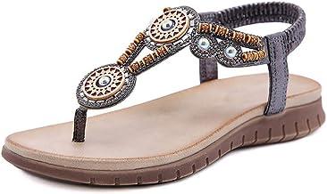 Sandales Décontractées Été Dames Tête Ronde Couture En Cuir De Couleur Unie Style Ethnique Confortable Et Léger Style Ethn...