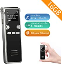 Voice Recorder-Mini 16GB HD Sound Activated Audio Recorder for lecture/Meeting/Class,Tape Digital Recording Device with Playback Portable Dictaphone Mp3 Player
