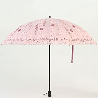 Princess Umbrella Umbrella Lace Umbrella Sunscreen UV Female Umbrella Umbrella Turn Umbrella Umbrella Huhero (Color : Pink)