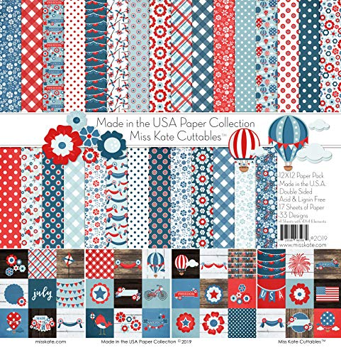Pattern Paper Pack - Made in The USA - 4th of July - 17 Double-Sided 12'x12' Collection Includes 34...