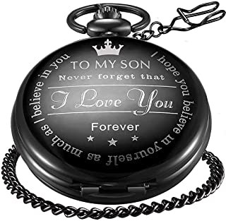 LYMFHCH Engraved Personalized Pocket Watch for Son Gifts Vintage Quartz Pocket Watches with Chain Christmas Graduation Gifts