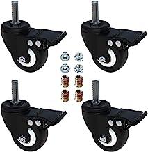 "AAGUT 2"" Stem Caster Wheels with Brake Lock, Screwed Bolt 3/8""-16 x 1"", Heavy Duty Swivel Rubber Wheels 4 Pack with Nuts D..."
