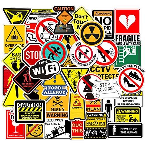 BLOUR 50pcs Warnschild Aufkleber Wallpaper Aufkleber Motorrad Skateboard Kühlschrank Doodle Lustige Aufkleber für Auto Laptop Kofferraum Spielzeug Aufkleber