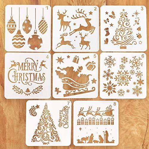 Schablonen Weihnachten, 8 Stück Zeichenschablonen Malschablonen aus Kunststoff, Stencil Schablonen Wiederverwendbar für Scrapbooking Fotoalbum, DIY Geschenkkarten, Geschenke Weihnachten Kinder