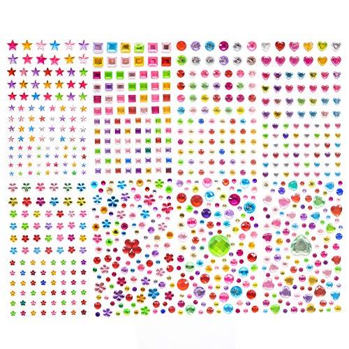 TOAOB 8 Blätter Strass Sticker Selbstklebend Bunt Acryl Aufkleber Glitzer 4 Größe Verschiedene Formen für DIY Handwerk Basteln