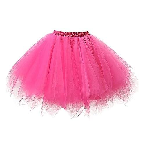 c71740c2c ResPai 80s Adult Neon Tutu Skirt Petticoat Fancy Dress 1980s 50s Costume  Accessories Pink Red Multiple