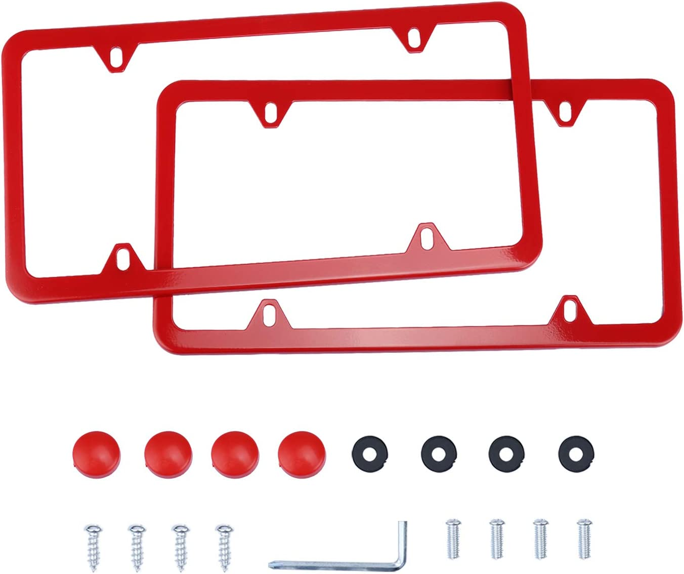 LivTee 4 Holes Stainless Steel License Plate Frames, 2 PCS Car Licence Plate Covers Slim Design with Bolts Washer Caps for US Vehicles, Red