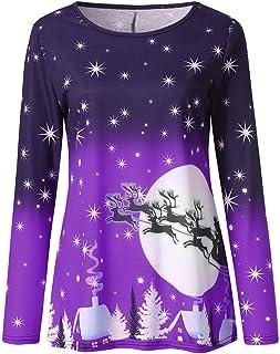 Cadeaux de no/ël Christmas Sweater Femme Chemisier Chic T-Shirt Femme Manche Longue Pull /Épaule D/énud/é Blouse Hauts