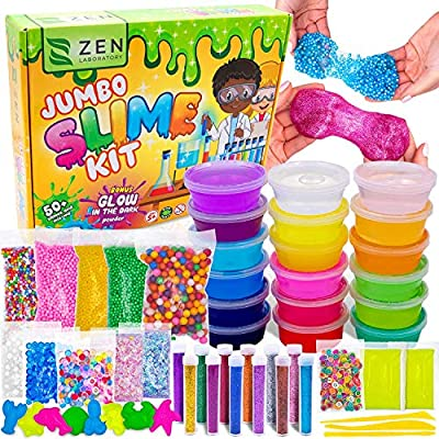 DIY Slime Kit for Girls Boys - Ultimate Glow in the Dark Glitter Slime Making Kit Arts Crafts - Slime Kits Supplies include Big Foam Beads Balls, 18 Mystery Box Containers filled Crystal Powder Slime from Zen Laboratory