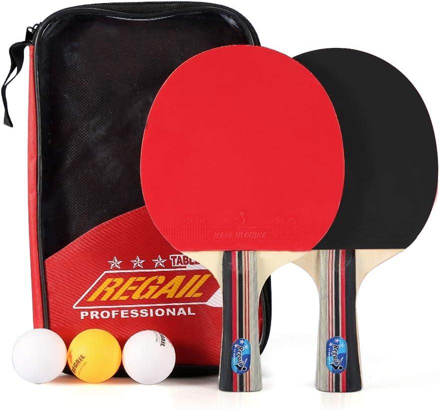 Bate de Tenis de Mesa, Raqueta de Tenis de Mesa Paleta de Tenis de Mesa con 2 Espinillas de Goma y 7 Capas para Jugadores de Tenis de Mesa, Principiantes, Aficionados y Profesionales