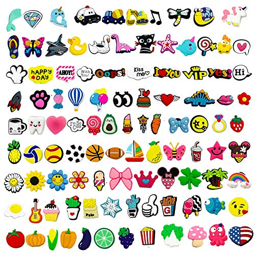 Kinear 120pcs Different Shape Charms for Shoes Wristband Bracelet Party Gifts Christmas Gift Treasure Box Toys