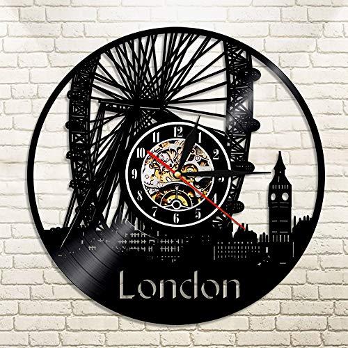 BFMBCHDJ London Wanduhr Big Ben Riesenrad Wanddekoration London Bridge England Stadtbild Reisegeschenk Großbritannien Vinyluhren Mit LED 12 Zoll