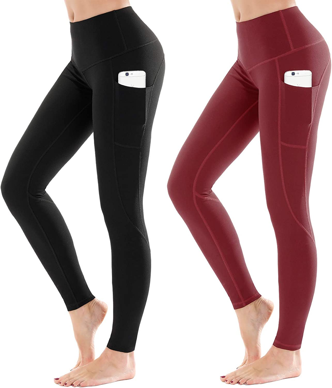 LifeSky High Waist Yoga Pants mit Taschen Bauchkontrolle Workout Pants Damen Active Leggings mit stylischem Design