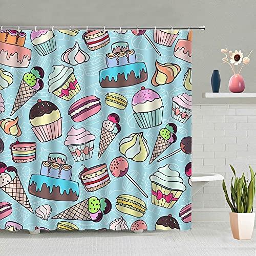 duschvorhang grau EIS Kuchen Kuchen Duschvorhang Leafdonut Hamburger Bananenfrucht Pizza Badezimmer Lebensmittel Dekorationrproof Wasser
