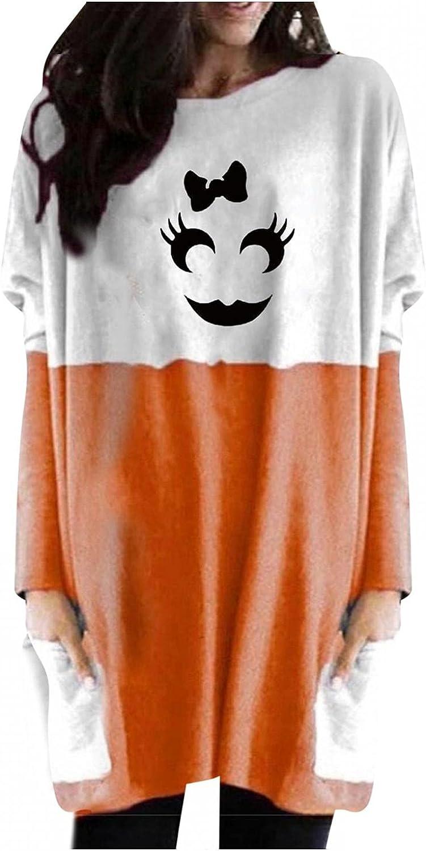 UOCUFY Sweatshirt for Women, Womens Casual Long Sleeve Shirts with Pocket Oversized Halloween Pumpkin Print Tunic Tops