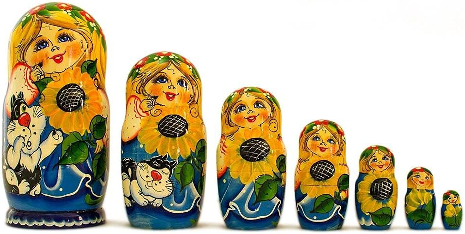 BestPysanky Set of 7 Girls with Cat in bluee Dress Russian Nesting Dolls 8.5 Inches