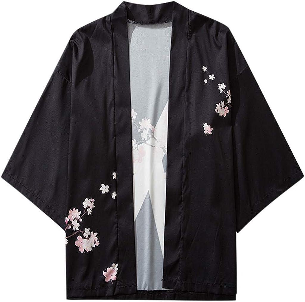 Kimono for Men, F_Gotal Men Printed Open Front Kimono Cardigan Beach Cover Up Shawl Collar Unisex Robe Jacket Drape Cape