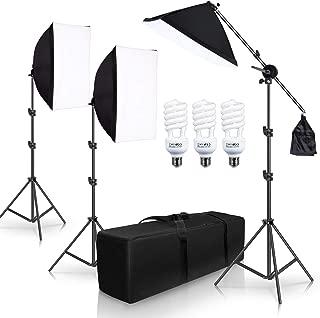 SH Photography Photo Studio Lighting Kit Set Softbox Setup with Light Stand Square Cube Softbox Cantilever Bag softbox with 3 PCS 5500K Daylight Bulbs