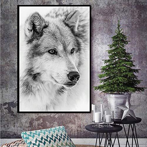 Geiqianjiumai Acuarela Mutu Wolf Mural Lienzo Arte nórdico Carteles e Impresiones Murales Sala de Estar Decoración del hogar Pintura sin Marco 50x75cm