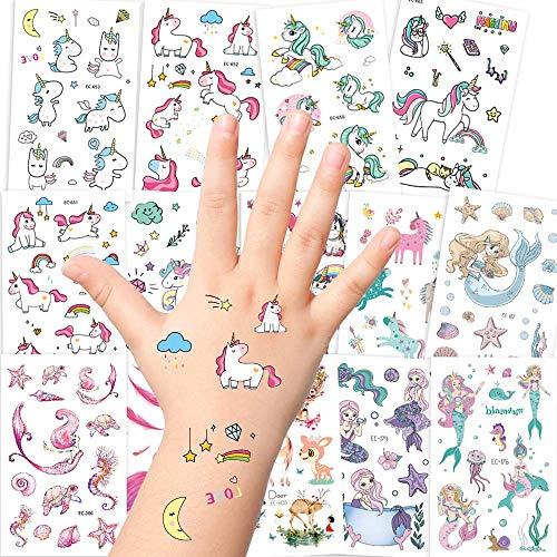 AGPTEK Einhorn Tattoos Set, 14 Blätter Temporäre Tattoos für Kinder mit Einhorn, Meerjungfrau und...