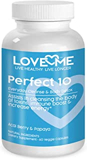 Love Me Nutrition® - Perfect 10 - Cleanse & Body Detox. Acai Berry & Papaya. Weight Loss, Lowers Cholesterol Levels, Anti-Aging Properties. Natural. No Artificial Ingredients 60 Vegi Caps