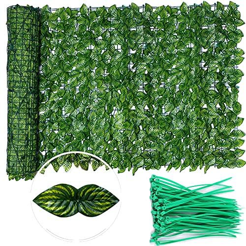 Künstlicher Efeu Sichtschutz Bildschirm, Erweiterbare künstliche Hecken Zaun Faux Ivy Vine Leaf Dekoration für Indoor Outdoor Garten (50 * 300cm)