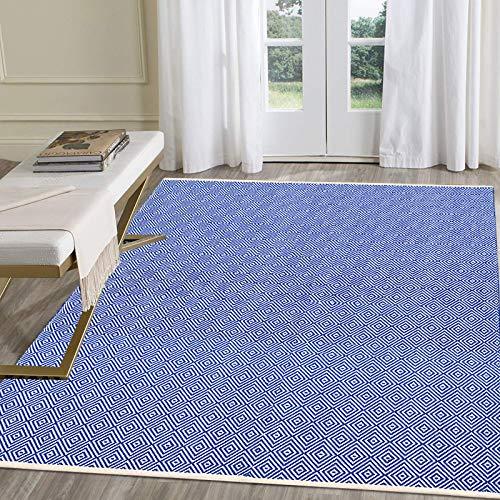 Pauwer Teppiche Handgewebte Baumwolle Teppich rutschfest Abwaschbar Bereich Teppich, Ideal für Wohnzimmer Schlafzimmer Kinderzimmer (Marine, 120 x 180 cm)