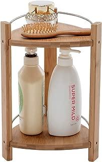 PELYN Shower Caddy Bamboo Bathroom Freestanding Corner Shelf Organizer Storage Rack for Shampoo Soap Towel