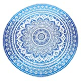 Large Round Size Tapestry Wall Hanging - Blue Mandala Tapestry...