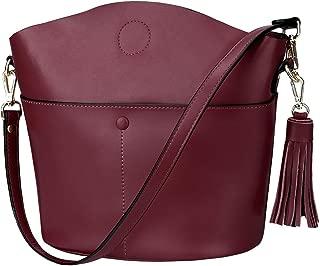 S-ZONE Women's Small Cowhide Genuine Leather Crossbody Bag Shoulder Purse Handbag with Tassel