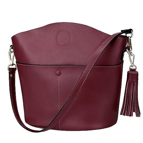 S-ZONE Women s Small Cowhide Genuine Leather Purse Handbag Tassel Crossbody  Shoulder Bag 1022dbde2d69f