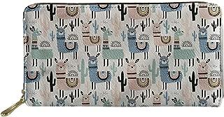 HUGS IDEA Women Leather Long Clutch Wallet Cartoon Pit Bull Terrier Dog Pattern Purse