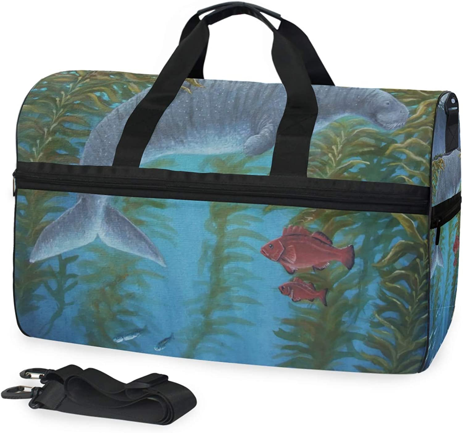 dd37cfa966d8 DEZIRO 45L Travel Duffel Bag Cool Sea Cow Red Fishes Large Weekender ...
