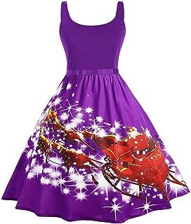 WUAI Women's Christmas Dress,Vintage Sleeveless Cami Cocktail Evening Party Prom Dress