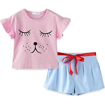 Fashion Little Girls Adorable Puppy Printed Casual T-shirt and Pants