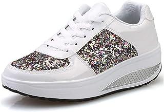 Zapatillas de Deporte para Mujer con Cordones Plataforma Impermeable Zapatillas de Deporte con cuña para Caminar Gimnasio ...