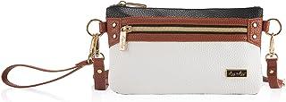 Itzy Ritzy Boss Pouch Wristlet, Crossbody and Belt Bag; Coffee & Cream
