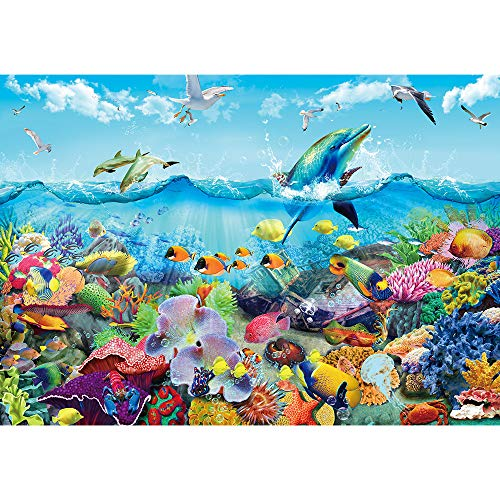 Puzzle 1000 Teile-Magisches Bücherregal Klassische Puzzle 1000,Impossible Puzzle Geschicklichkeitsspiel für die Ganze Familie (Lebendige Unterwasserwelt)