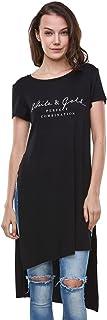 GLOSTORY Womens Round Neck Tunic Tops Short Sleeve Loose T Shirts Dress