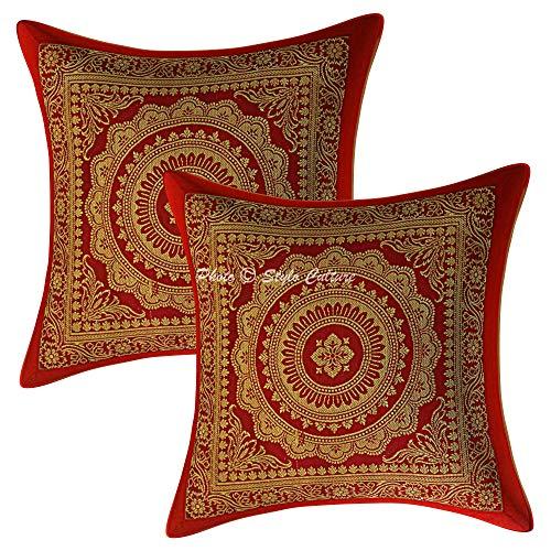 Stylo Culture Étnico Seda de Brocado Mandala Sofá Decorativo Fundas de Cojines 30 x 30 Oro marrón Almohadones para Cama 12 x 12 Cuadrado Tradicional Decoración del hogar (Conjunto De 2)
