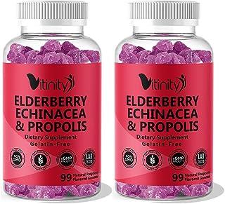 Elderberry,Echinacea,Propolis Gummies & Vitamin C-Adults,Kids Overall Health Booster Supplement- Sambucus B...