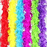 Best Feather Boas - 6PCS 6.6Ft Colorful Party Feather BOA Art Supplies Review