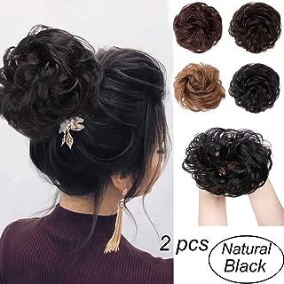 100% Human Hair Bun Extensions 2PCS Curly Wavy Messy Bun Hair Extension Scrunchies Elegant Chignons Wedding Hair Piece for Women and Kids(Color:Natural Black)