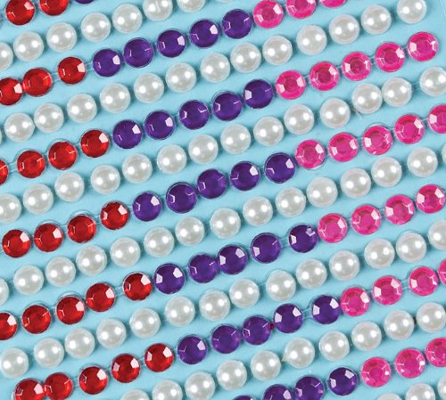 Baker Ross Self-Adhesive White Pearl and Colored Gems Size 6mm for Collage, Card Making, Children's Arts & Crafts (Pack of 450) - Ideal Decoration for Carnival / Mardi Gras